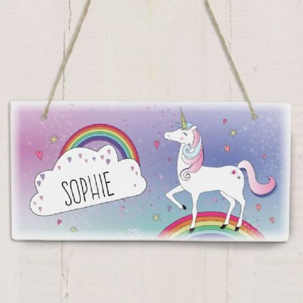 Unicorn Personalised Wooden Sign